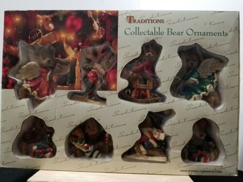 """TRADITIONS COLLECTABLE BEAR ORNAMENTS 3"""" TO 4"""" BEARS CHRISTMAS HOLIDAY"""
