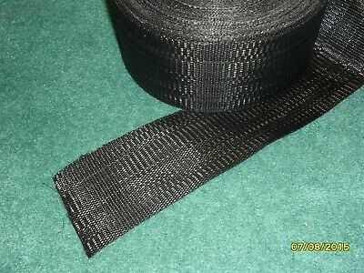 Solid BLACK Aluminum lawn chair webbing 39ft new, approx. 2 7/8 inches wide