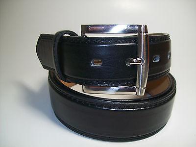"Men Silver Buckle Black Leather Belt M 34 - 36"" #1015B"