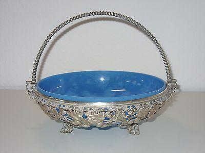 Schöne alte Schale Jürst Metall versilbert um 1900 Original Glaseinsatz Beeren