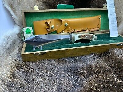 1990 Vintage Puma Rudemann Knife With Stag Handles & Tag Mint Presentation Box
