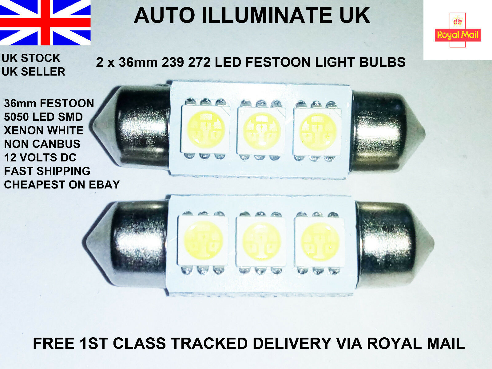 Car Parts - 2x 36mm Car Led Smd 239 272 C5W White Number Plate Festoon Light Bulbs Lamps 12V