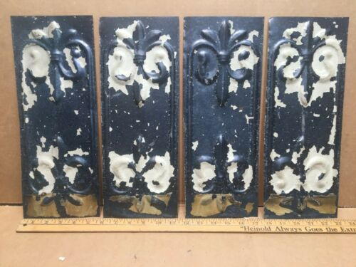 "4pc Lot of 14"" by 5.5"" Fleurs Antique Ceiling Tin Metal Reclaimed Salvage Craft"