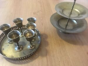 Small brass goblets / chalices with trays from India