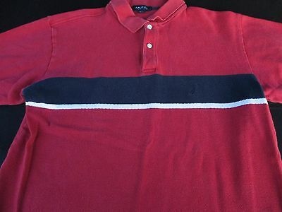 Nautica Mens Polo Pullover Knit Short Sleeve Red Striped Logo Shirt Large L