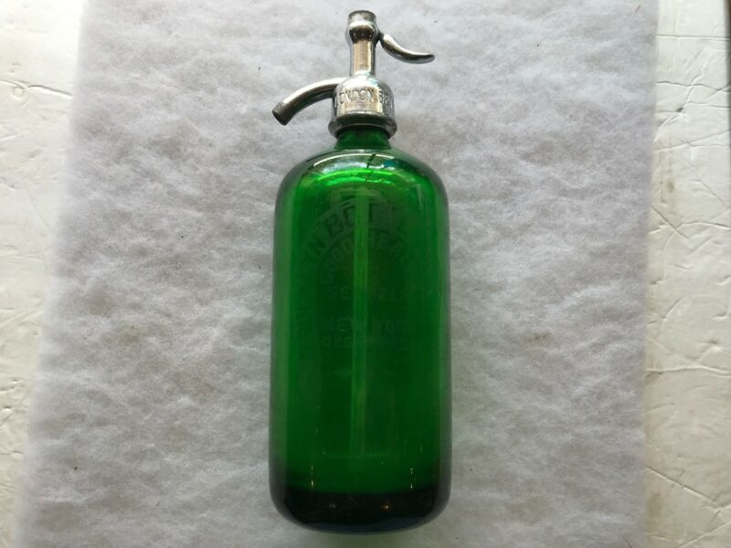 Brooklyn Bottling Works Vintage Green Glass Seltzer Bottle, New York
