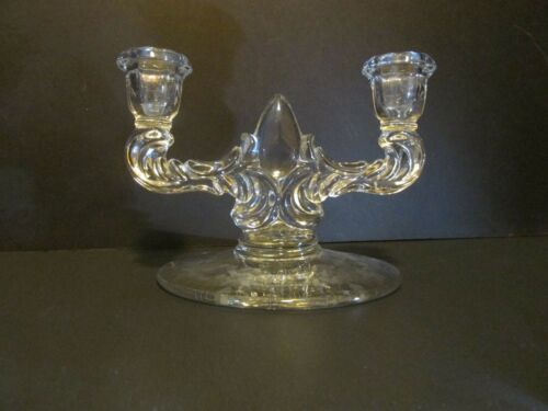 Vintage Art Deco Glass Candle Holder - Clear Glass