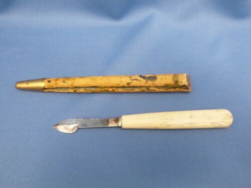 Antique Vintage QUILL PEN ERASER Scraper w/SHEATH, Pencil Sharpener