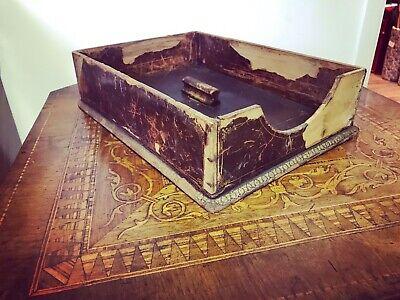 Edwardian Leather & Wood Paper Tray