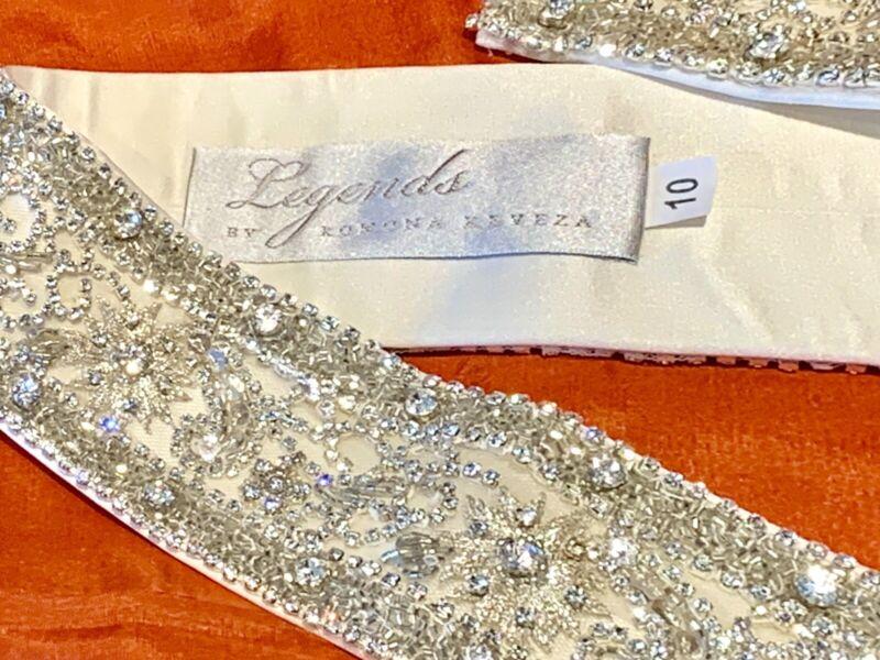 RAMONA KEVEZA Legends Bridal Sash Belt Diamond Crystals Embellished - Size 10