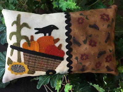 """Buttermilk Basin """"Pumpkin Cart"""" Halloween Fall Wool Applique Handmade Pillow"""