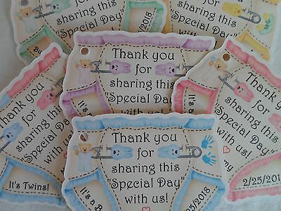 UNIQUE PERSONALIZED DIAPER THEME BABY SHOWER PARTY FAVOR GIFT TAGS, CANDY TAGS
