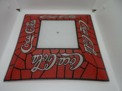 """Vintage Coca Cola Stained Glass Square Light Lamp Shade 14"""" SUPER NICE FREE SHIP"""