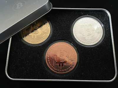 Bitcoin Medaillien Set 3 x 1 oz 999 Kupfer + Silber & Goldauflage in Edler Box