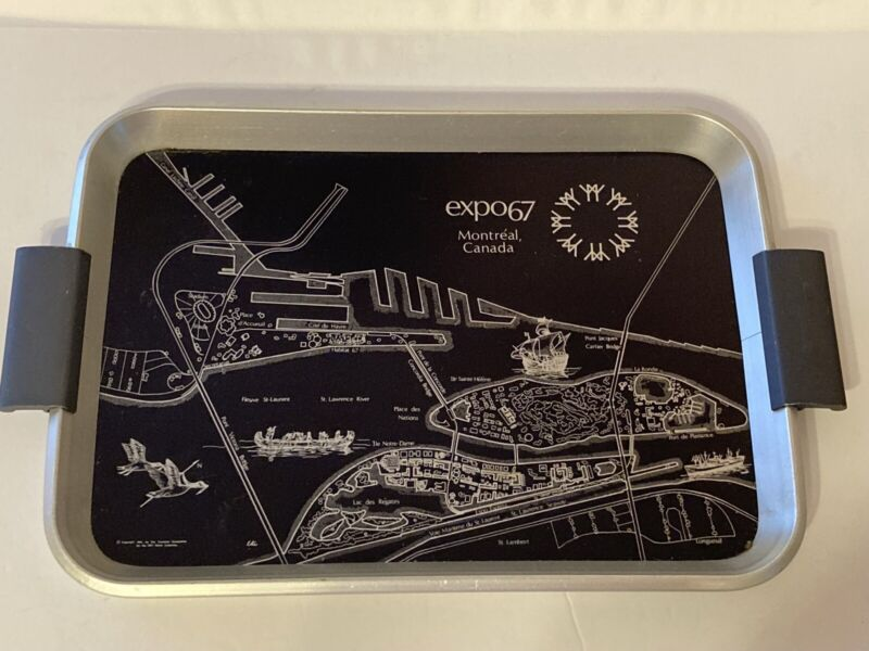 Vintage EXPO 67 1967 Montreal Canada Advertising Tray Black Silver Worlds Fair