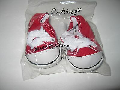 "Doll Shoes / Sneakers Red  Fits 18"" Dolls and 13"" Baby Face Doll"