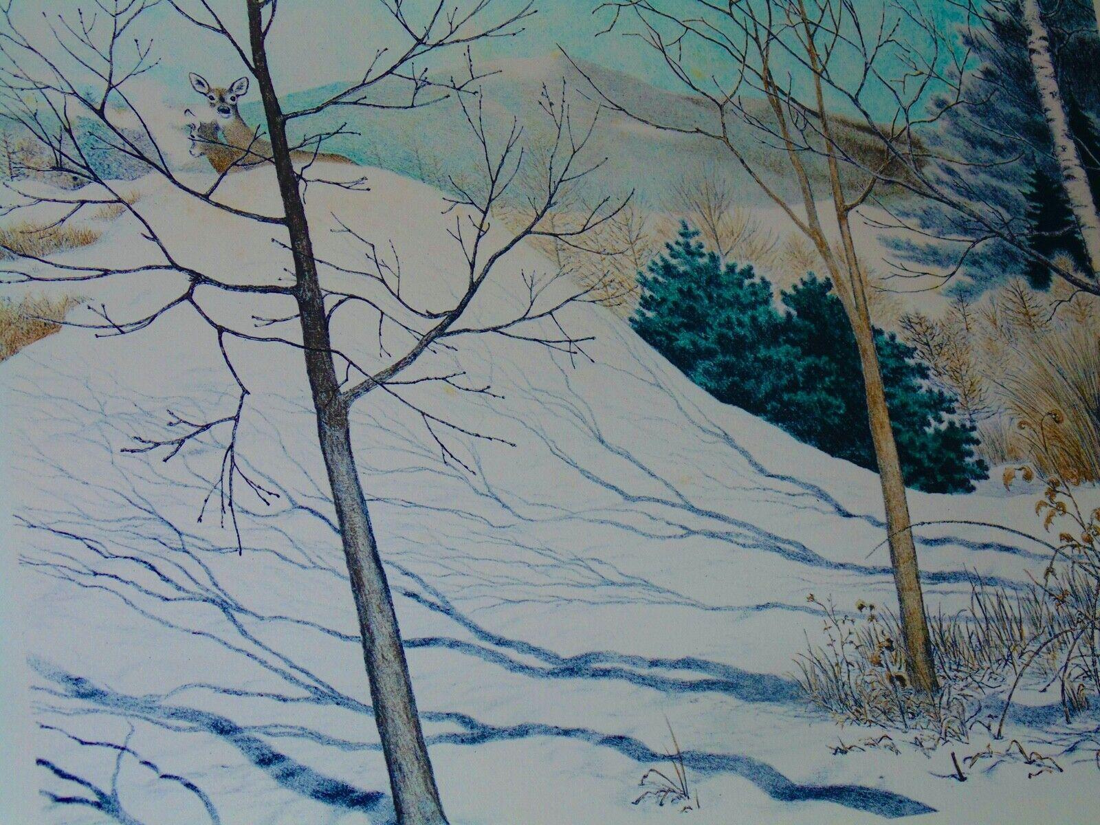 MEL HUNTER VINTAGE X - LARGE ORIGINAL LITHOGRAPH S/N WINTER SNOW DEER LISTED-NR - $95.00