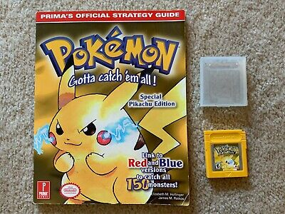 Gameboy Pokemon Yellow Version- Cartridge and Official Game Guide