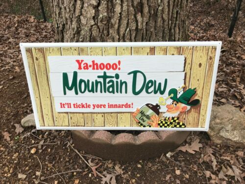 """""""MOUNTAIN DEW"""" LARGE EMBOSSED ADVERTISING SIGN (31""""x 15.5""""), NEAR MINT CONDITION"""