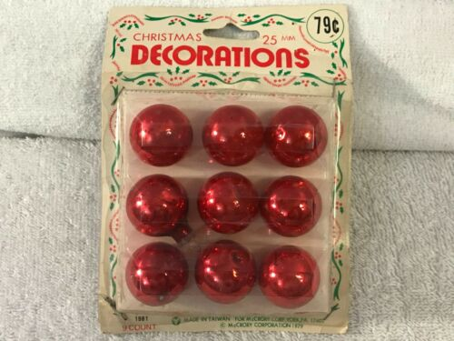 Vintage Taiwan christmas ornaments set of 9 miniature glass balls EX5457