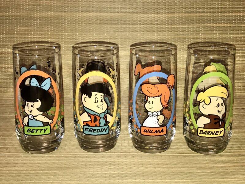 + 1986 The Flintstone Kids Pizza Hut Promo Glasses Complete Set Of 4 MINT +