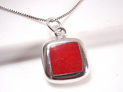 Reversible Red Coral and Mother of Pearl 925 Sterling Silver Square -