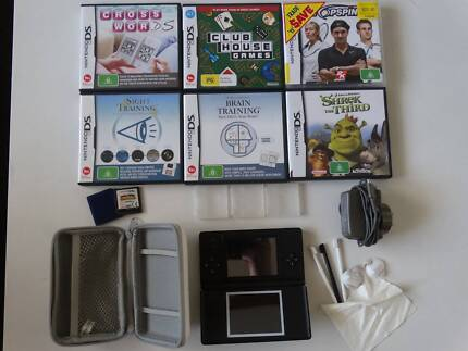 Black Nintendo DS Lite console + case + extra styli + 7 games