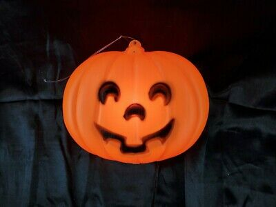 Vintage Halloween Light Up Blow Mold Pumpkin with hanger Made in the USA