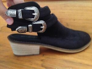 Black Buckled suede boots (size 9) Deakin South Canberra Preview