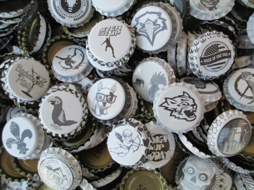 100 (Uncrimped) Black and White -Crown/ Caps for homebrewing beer or crafts, etc