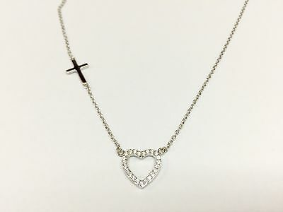 925 Sterling Silver Heart And Cross Pendant Necklace 16''-18'' - Heart And Cross Necklace