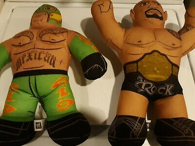 "The ROCK & rey WWE Wrestling Brawlin Buddies 17"" Plush Toy Figure Mattel lot see"