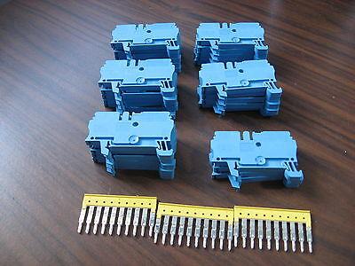 Lot of 28 Allen Bradley 1492-L3 Blue Terminal Blocks (2.5mm)