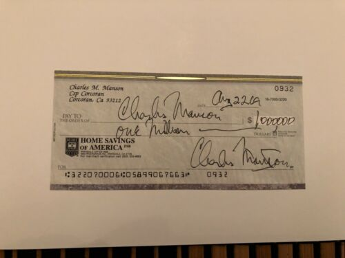 Charles Manson signed check