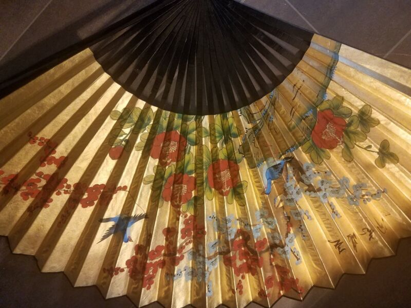 Antique Asian hand painted wall decor