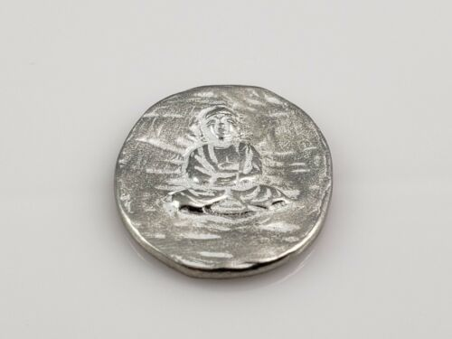 "Buddha Pocket Good Luck Metal Pewter Token 1"" x 13/16"""