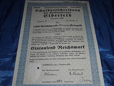 22 : histor.Wertpapier ,Schuldverschreibung , Elberfeld ,1.Oktober 1928 ,1000 RM