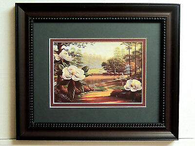 MAGNOLIA FLOWER PICTURE FRAMED DOUBLE MATTED 8X10