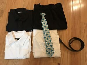 Boy dress shirts, pants, tie and belt