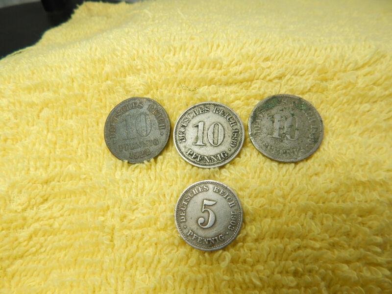 4-Old coins-1839-1899-1922 Deutsches Reich 10 Pfennig & 1903 5-Phennig Silver?