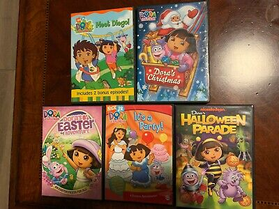 5 DVD KIDS MOVIES LOT Dora's Christmas Diego Halloween Parade Party