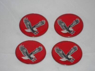 SET OF 4 RED EAGLE BIRD WHEEL RIM CENTER CAP ROUND DECAL 44MM STICKER LOGO 1.75
