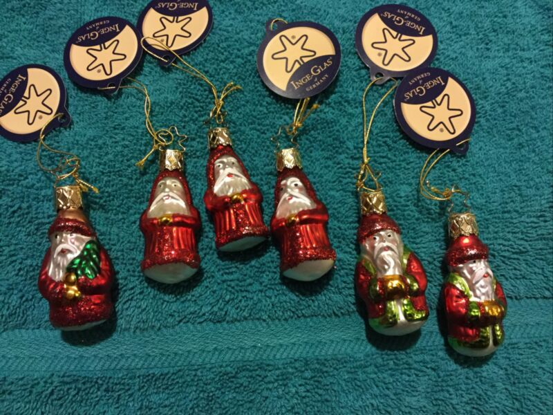 "Inge-glas 6 Piece Blown Glass Santas 2"" Each With Hangtags"