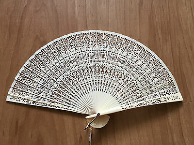 vintage bone Carved hand fan