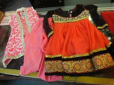 4pc Bollywood Indian Girls Dress red black gold top pants cover pink rhinestones](Girls Gold Pants)