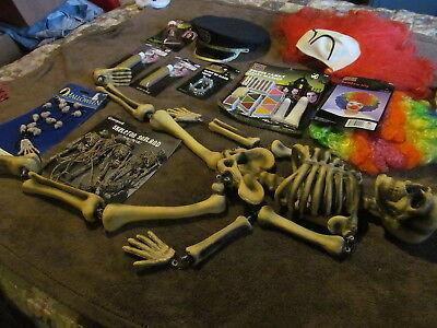 Halloween Skeletons Makeup (Fabulous Lot Of Halloween Decor & Accessories - Skeletons &  Wigs &)