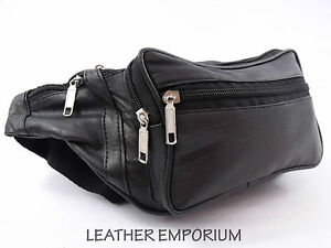 NEW BLACK SOFT LEATHER 8 ZIP 7 POUCH BUM BAG MONEY WALLET 1