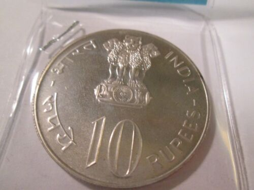 1973 INDIA SILVER 10 RUPEES FAO GROW MORE FOOD PROOF   RA 2
