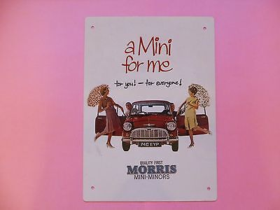 Classic Mini - Metal Wall Plaque Morris Mini-Minor
