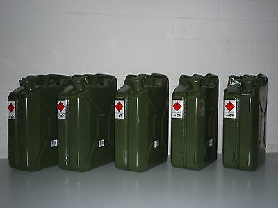 Kanister Einheit (Benzinkanister Metallkanister 20 Liter - 5 Stück -  5 x 20 Liter Kanister)